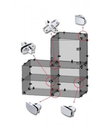 Connecteur deux volumes de verre à 90°