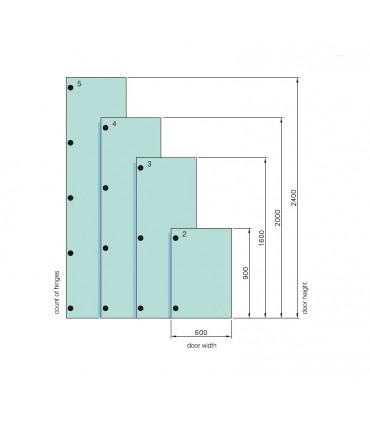 Charnière pour porte de vitrine verre intérieur