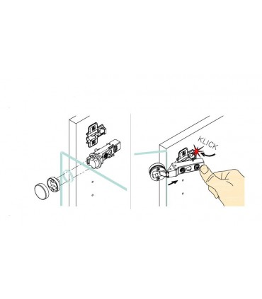 Charnière pour porte de vitrine verre recouvrant