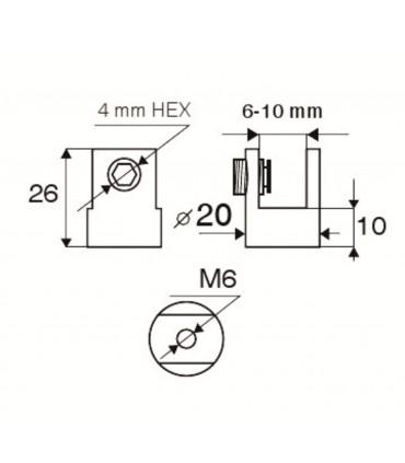 Pince fixe Ø 20 mm pour verre d'épaisseur 6 à 10 mm
