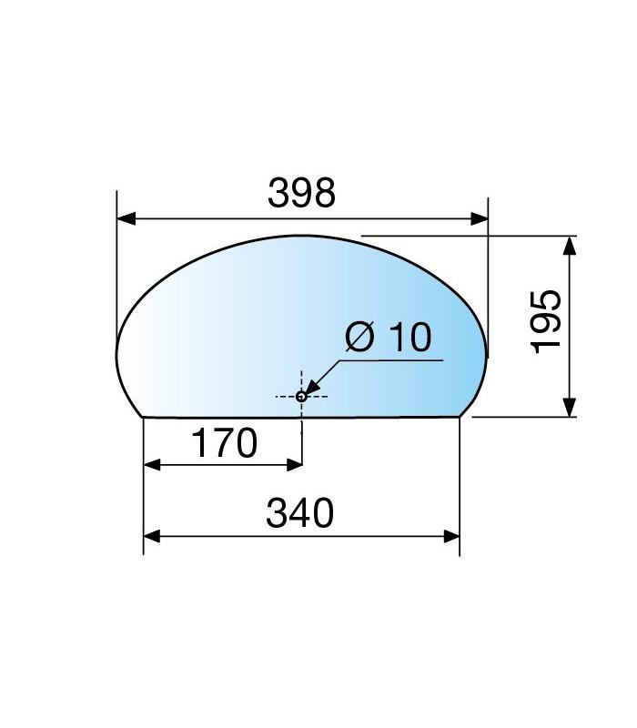 Etagère en verre pour support série Archia 398 x 195 mm
