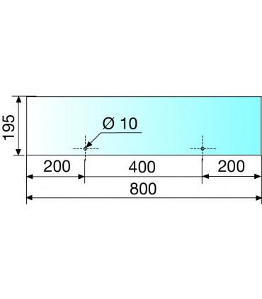 Etagère en verre pour support série Archia 800 x 195 mm