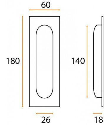 Poignée cuvette inox XL rectangulaire technique