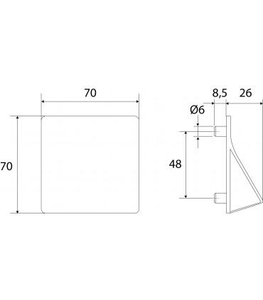 Ligne Origami forme carré 70 x 70 mm