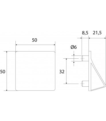 Ligne Origami forme carré 50 x 50 mm