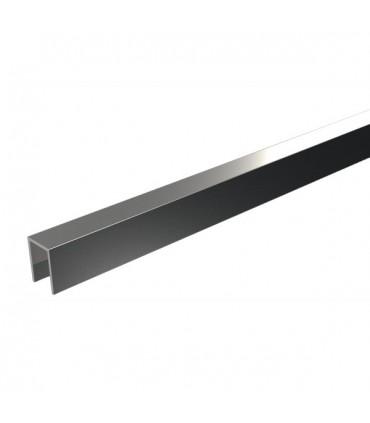 Profil en U aluminium ht.30 mm pour verre de 16.76 mm