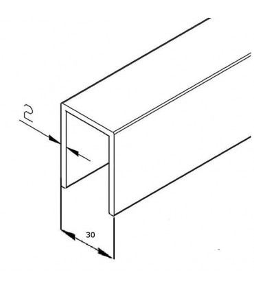 Profil en U aluminium hauteur 30 mm pour verre de 25.52 mm