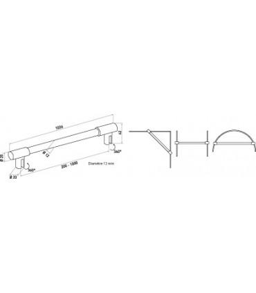 Barre raidisseur pour cloison de douche fixation entre deux volumes de verre