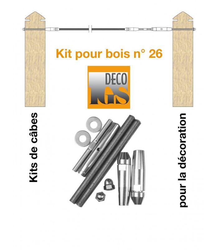 Kit 26 pour montage droit entre 2 poteaux en bois