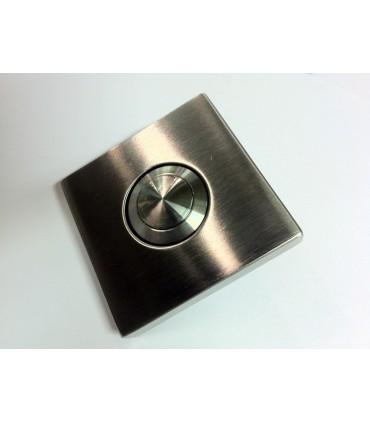 Bouton de sonnette carré 50/50 mm en inox brossé