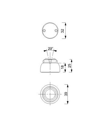 Butoir mural magnétique rond sur rotule 20°