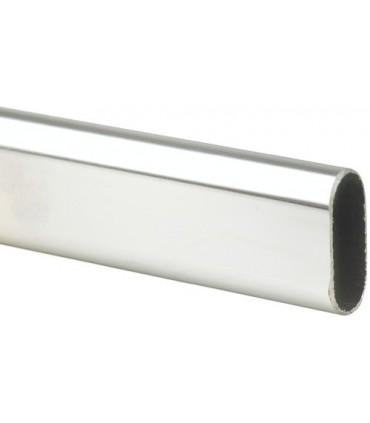 Tube de penderie 30 x 15 mm en acier chromé brillant