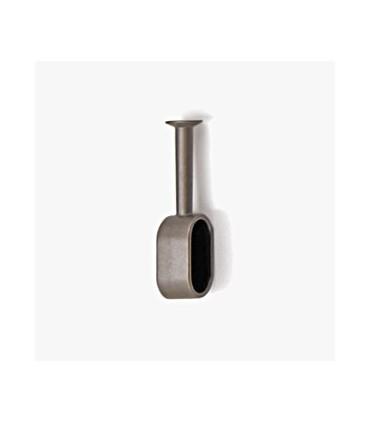 Embase chromé brillant sans platine pour tube ovale de 30 x 15 mm