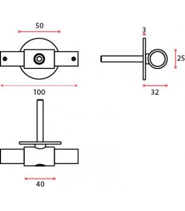Connecteur intermédiaire pour tube Ø 25 mm à fixation murale