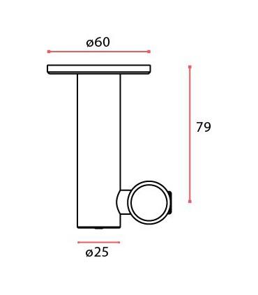 Connecteur intermédiaire pour tube Ø 25 mm fixation plafond