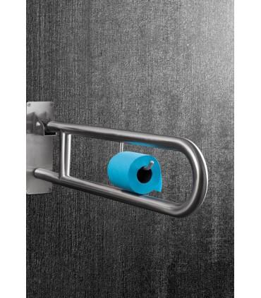 Barre d'appui relevable avec porte rouleau papier wc