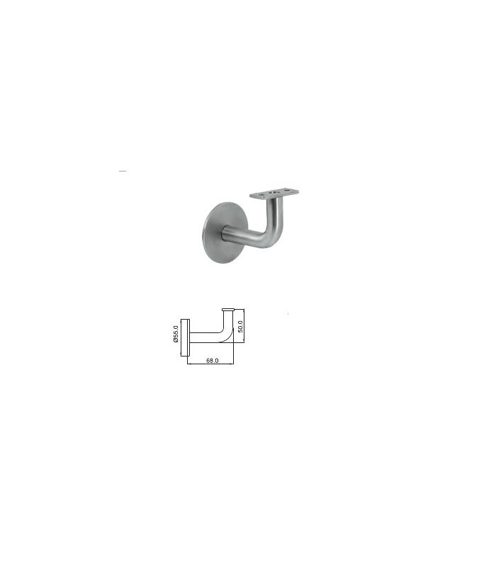 Support mural inox pour main courante sur platine extra plate