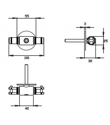 Kit rail tubulaire Longueur 1900 mm connecteur technique