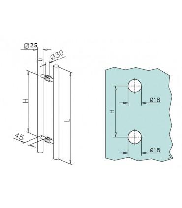 Paire de poignée baton de maréchal en inox Ø 25 mm