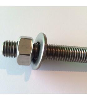 Tige filetée M12 avec écrou et rondelle en inox