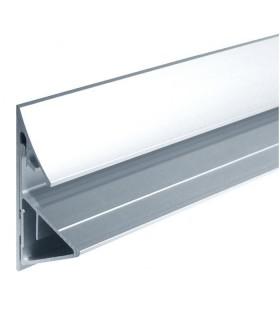 Profil aluminium support tablette en verre d'épaisseur 12 à 17.52 mm