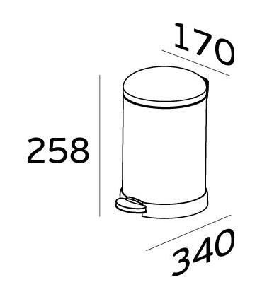Poubelle inox couvercle bombé 3 litres