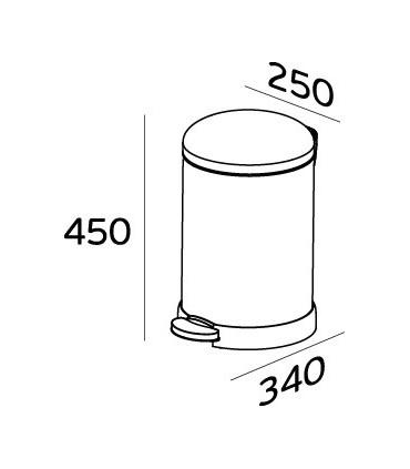 Poubelle inox couvercle bombé 12 litres