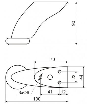 Pieds de meuble design hauteur 90 mm