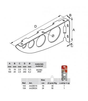 Support pour étagère bois Serenissima technique